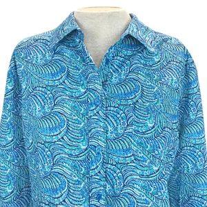 Liberty Art Fabrics Blue Peacock Oscar A Shirt XL